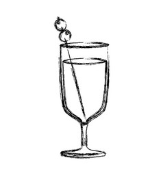 Monochrome sketch silhouette of glass cup cocktail vector
