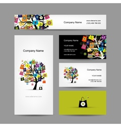 Set of business cards design shopping tree with vector image