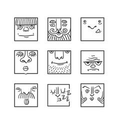 avatar doodle icons collection vector image vector image