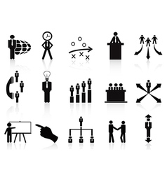 black management icons set vector image