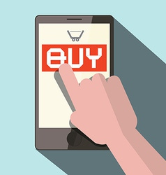 Cell Phone with Hand and Buy Button vector image vector image