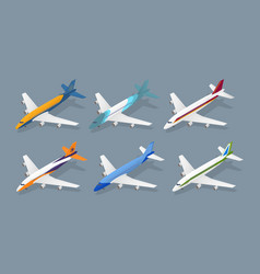 color passenger airplane color icon set isometric vector image