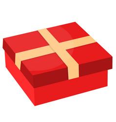 gift box with ribbon flat design vector image vector image