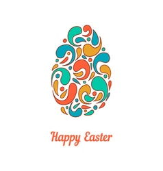Greeting card with full color doodle easter egg-3 vector image