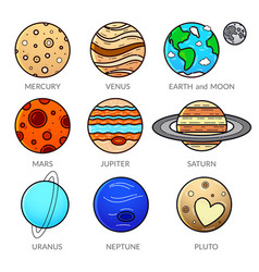 icons planet of solar system vector image vector image