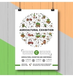 Agricultural Exhibition design poster or card vector image