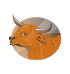 Angry bull head retro vector