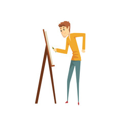 Artist painting on canvas standing near easel vector