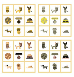 assembly flat icons pets and accessories vector image