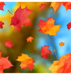 autumn watercolor leaves on blurred background vector image