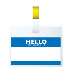blue hellow my name is vector image