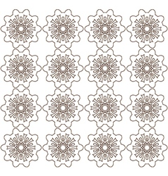 Brown abstract lace flowers on the white vector