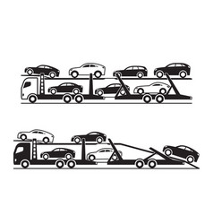 Car transporter trucks vector