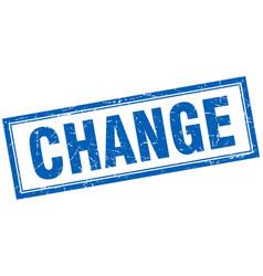 Change blue square grunge stamp on white vector