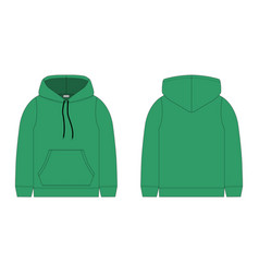 Children hoodie in green color isolated on white vector