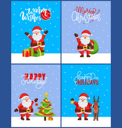 christmas 2019 posters set new year tree and santa vector image