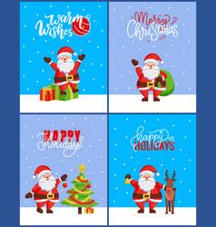 christmas 2019 posters set new year tree and santa vector image