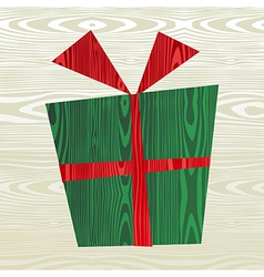 Christmas wooden gift silhouette vector image