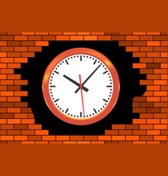 clock in broken wall vector image