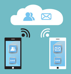 Cloud technology white and black smart phones vector