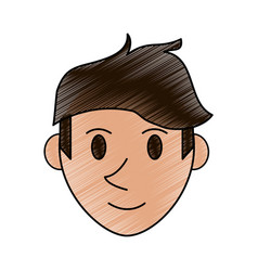 Color pencil cartoon front view face guy with vector