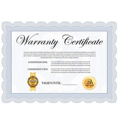 company quality warranty certificate template vector image