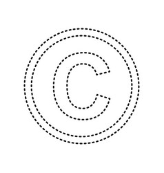Copyright sign black dashed vector