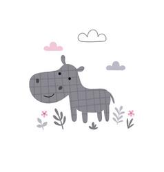 Cute a funny hippo vector
