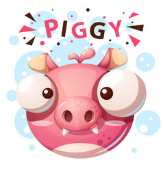 cute pig character - cartoon vector image