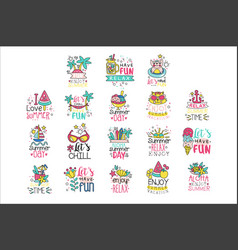 cute summer labels set enjoy summer vacation hand vector image