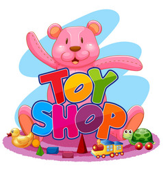 Cute toy shop logo vector