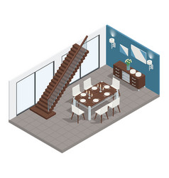 dining room isometric concept vector image