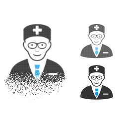 Dispersed dot halftone head physician icon with vector