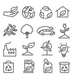 Ecology line icons set on white background vector
