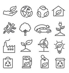 ecology line icons set on white background vector image