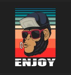 enjoy monkey retro vector image