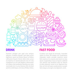 fast food line template vector image