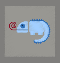 Flat shading style icon reptile chameleon vector