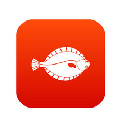 Flounder icon digital red vector