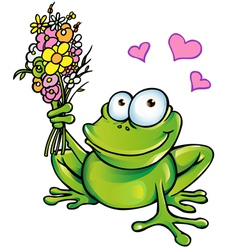 Frog with bouquet vector