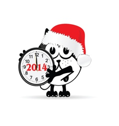 funny animal with new year clock vector image