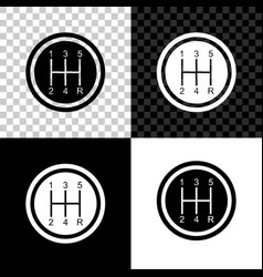 gear shifter icon isolated on black white and vector image