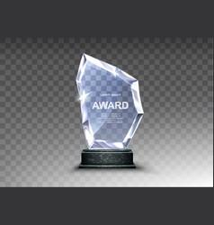 Glass trophy or acrylic winner award realistic vector