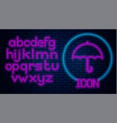 Glowing neon umbrella icon isolated on brick wall vector