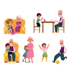 Grandparent spending time with grandchildren vector