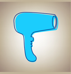 hair dryer sign sky blue icon with vector image