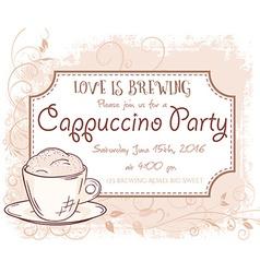 hand drawn cappuccino party invitation card vector image