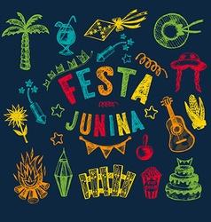 Hand drawn elements of Festa Junina vector image