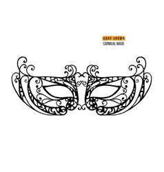 Hand drawn venetian carnival metallic mask vector