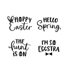 happy easter lettering set black hand lettered vector image